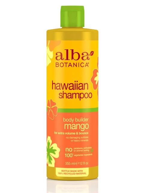 Suteikiantis apimties  šampūnas plaukams ALBA BOTANICA su mangais, 350 ml