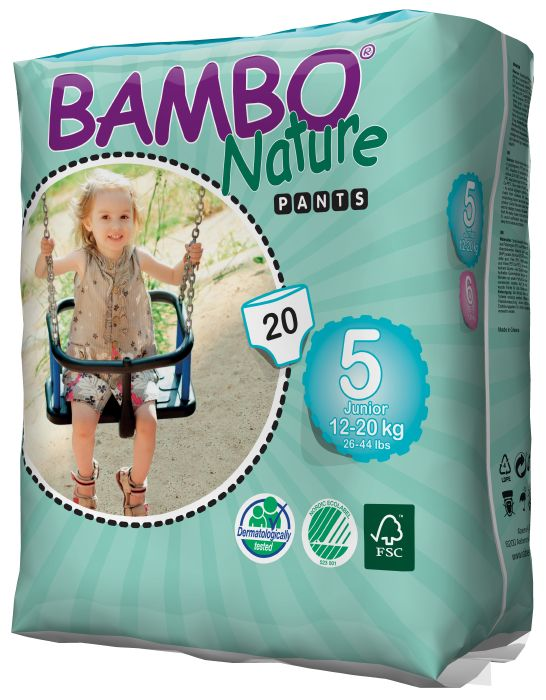 EKOLOGIŠKOS sauskelnės – kelnaitės BAMBO Nature, 5 Junior (12-20 kg), 20 vnt.