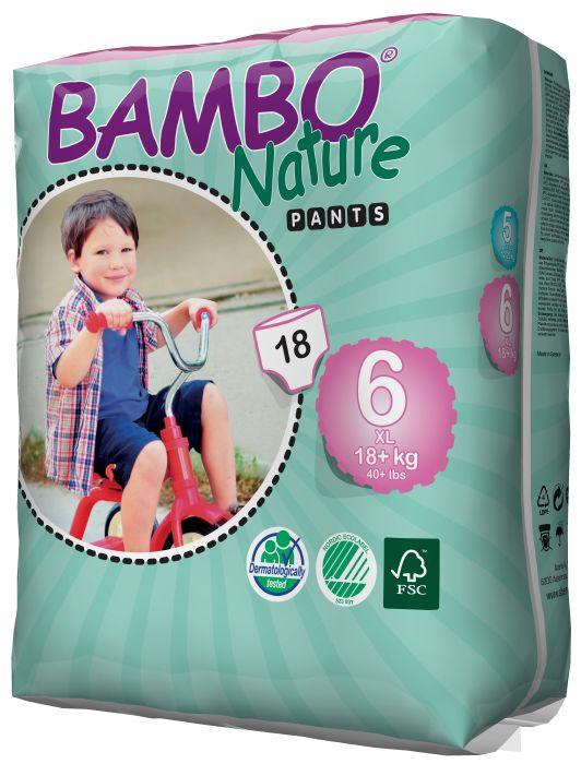 EKOLOGIŠKOS sauskelnės – kelnaitės BAMBO Nature, 6 XL (18+ kg), 18 vnt.