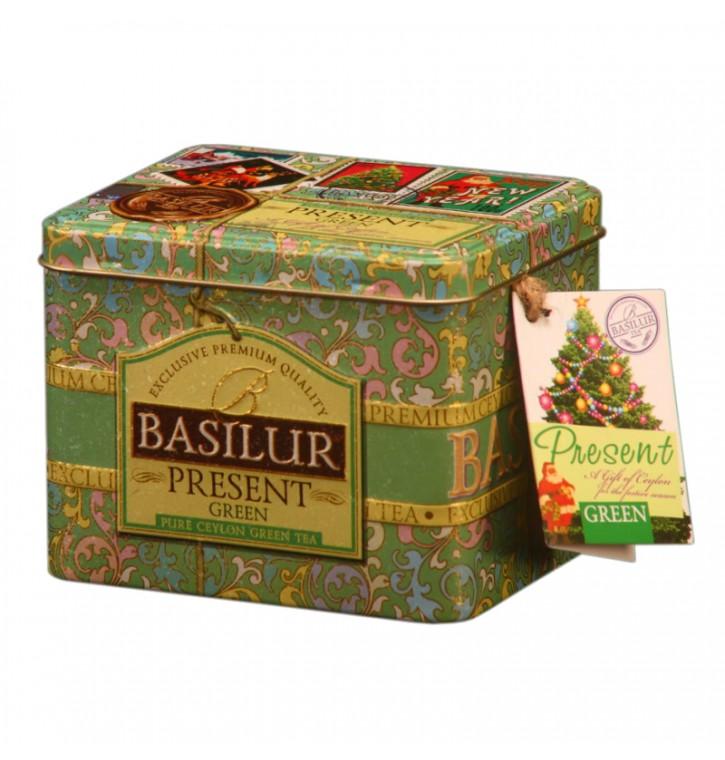 BASILUR PRESENT ceilono žalioji lapelių arbata su braškių gabaliukais,rožių žiedlapiais,spanguolių ir braškių aromato,100g