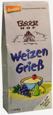 Bauck Hof manų kruopos iš kviečių pilno grūdo (Demeter), Vokietija, 500 g