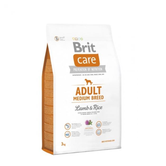 BRIT CARE Adult Medium Breed Lamb & Rice hipoalerginis pašaras šunims, 3kg