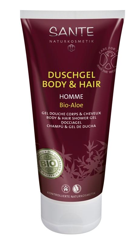 Dušo želė vyrams kūnui ir plaukams Bio – Aloe, Sante, 200 ml.