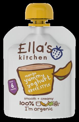 EKOLOGIŠKAS jogurtas su MANGAIS, OBUOLIAIS ir BANANAIS, Ella's kitchen, kūdikiams nuo 6 mėn., 90 g