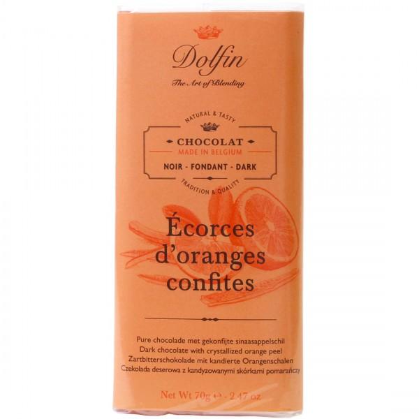 Juodasis šokoladas su apelsinų cukatomis DOLFIN, 60%, 70g