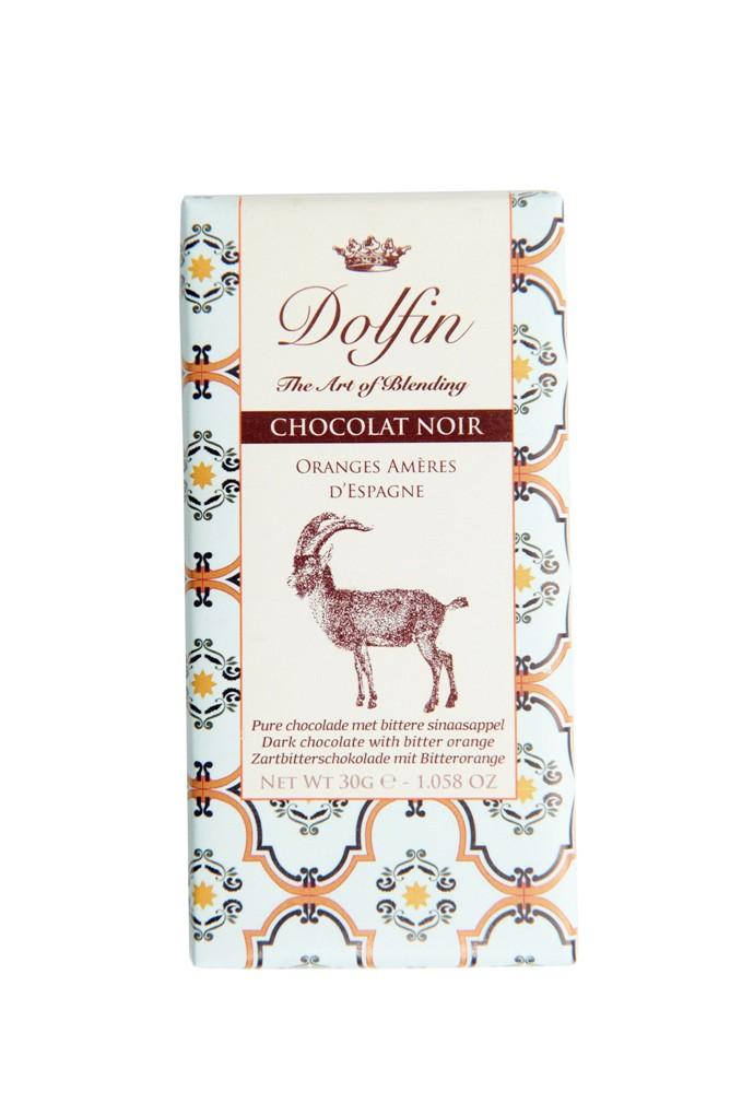 Juodasis šokoladas su karčiaisiais apelsinais DOLFIN, 60%, 30g