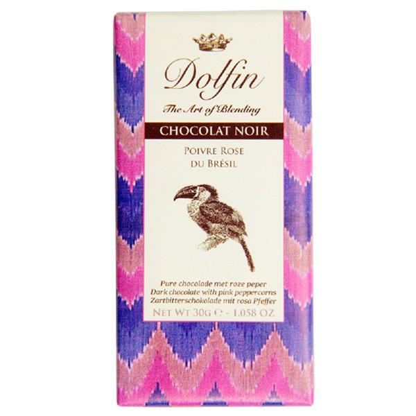 Juodasis šokoladas su rožiniais pipirais DOLFIN, 30g