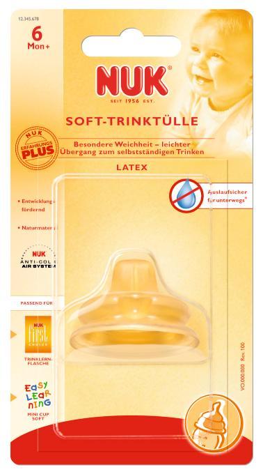 NUK Mokomasis lateksinis neišsiliejantis snapelis plačiakakliams buteliukams ir mokomiesiems puodeliams nuo 6+ mėn. (750.406)