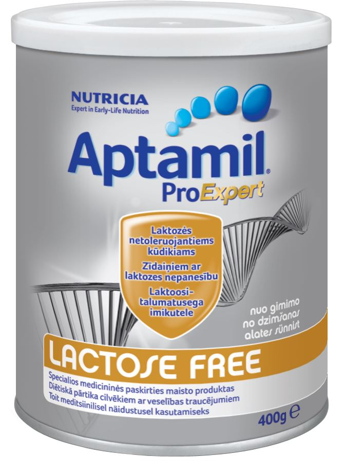 LAKTOZĖS NETOLERUOJANTIEMS kūdikiams skirtas pieno mišinys, nuo gimimo, Aptamil Lactose Free, 400 g