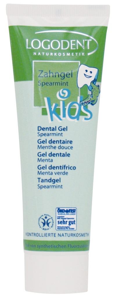LOGODENT vaikiškas dantų gelis su mėtom ir žaliosios arbatos ekstraktu, 50ml