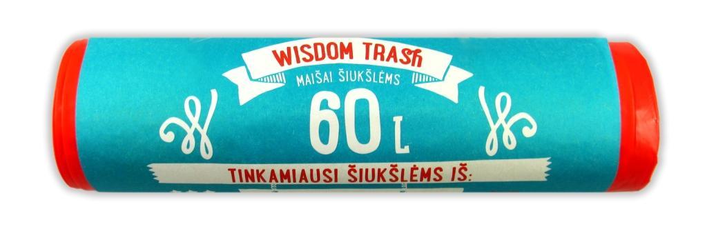 Maišai šiukšlėms Wisdom Trash,užrišami 60L-8 vnt.