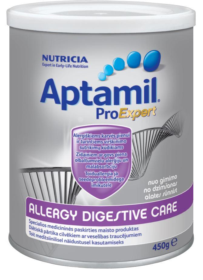 Maistui ALERGIŠKIEMS kūdikiams su VIRŠKINIMO FUNKCIJOS SUTRIKIMAIS skirtas pieno mišinys, nuo gimimo, Aptamil Allergy Digestive Care, 450 g