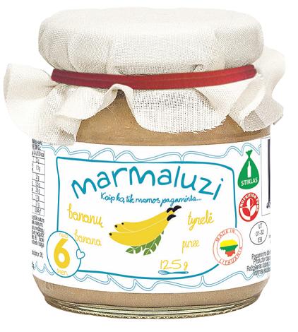 MARMALUZI bananų tyrelė kūdikiams nuo 6 mėn, grynasis kiekis 125g