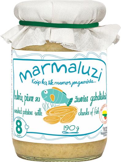 MARMALUZI bulvių piurė su žuvies gabaliukais kūdikiams nuo 8 mėn, grynasis kiekis 190g