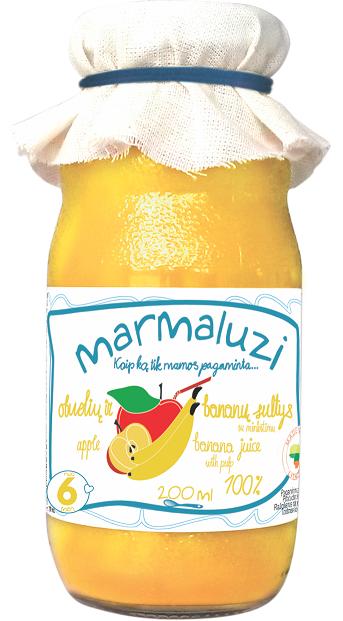 MARMALUZI obuolių ir bananų sultys su minkštimu kūdikiams nuo 6 mėnesių, neto tūris 200ml