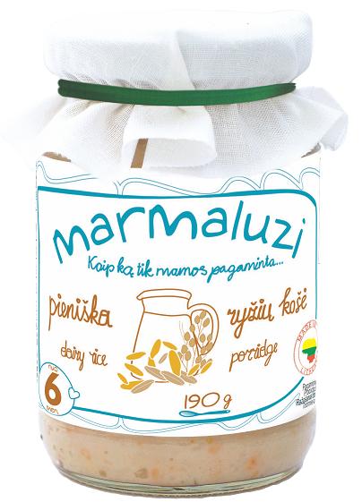 MARMALUZI  Pieniška ryžių košė vaikams nuo 6mėnesių, neto masė 190g.