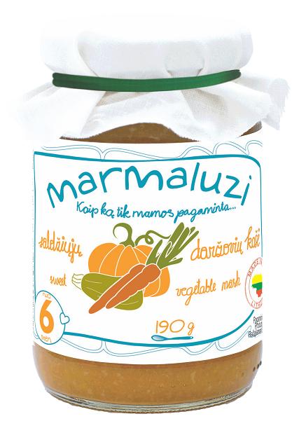 MARMALUZI Saldžiųjų daržovių košė kūdikiams nuo 6mėnesių, neto masė 190g.