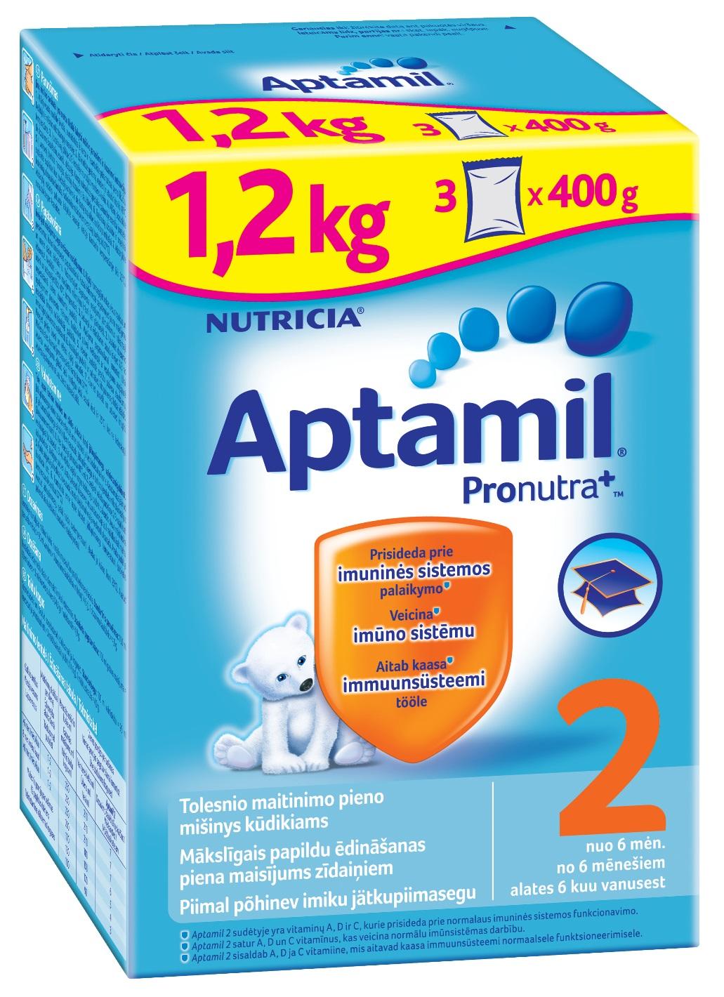 Pieno mišinys APTAMIL 2 su PRONUTRA+, kūdikiams nuo 6 mėn., 1,2 kg
