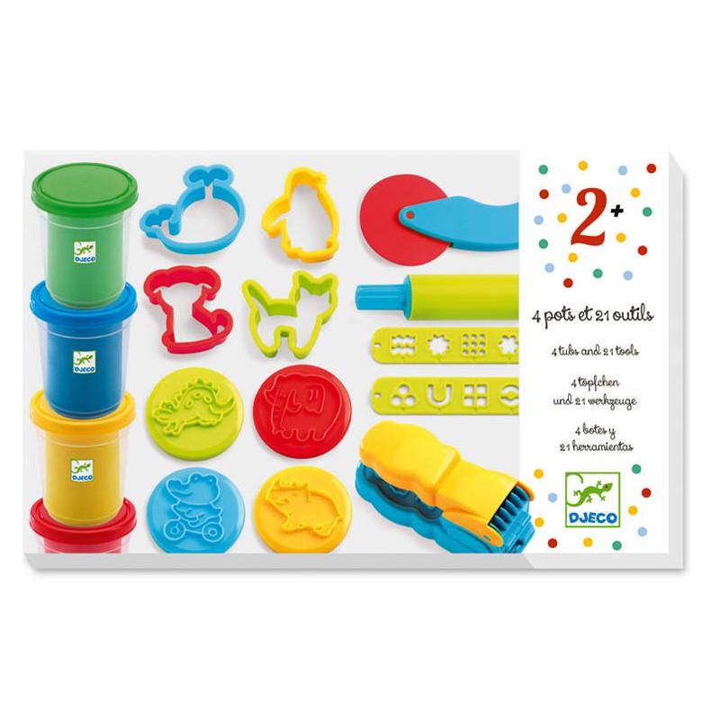 Modelino rinkinys DJECO vaikams nuo 2 m., 4 spalvos, 21 įrankis (DJ09755)