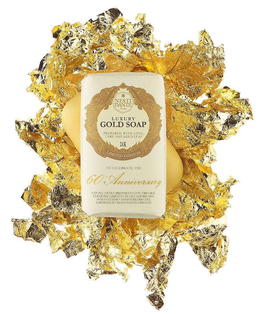 Dovanos idėja! Itališkas muilas SU AUKSO DULKĖMIS, NESTI DANTE, Luxury Gold 60th Anniversary, 250 g