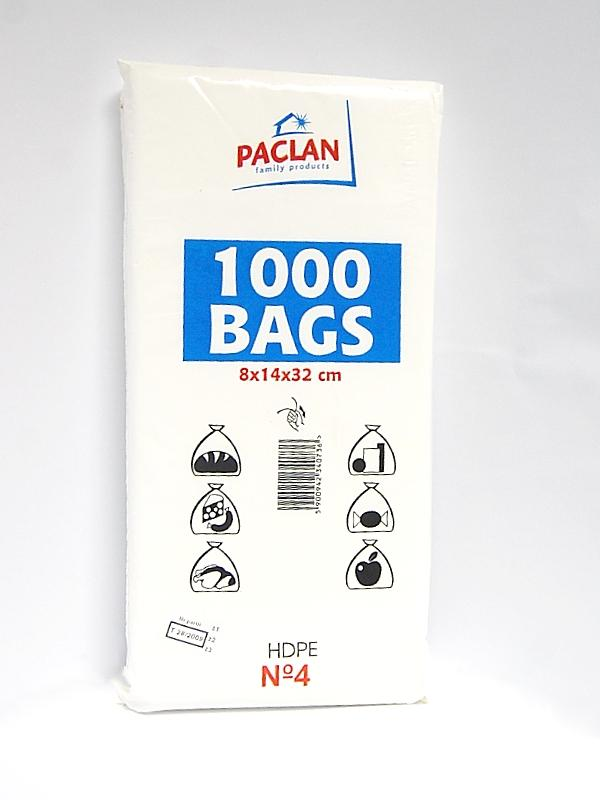 Paclan maišeliai 8x14x32cm, 1000vnt.
