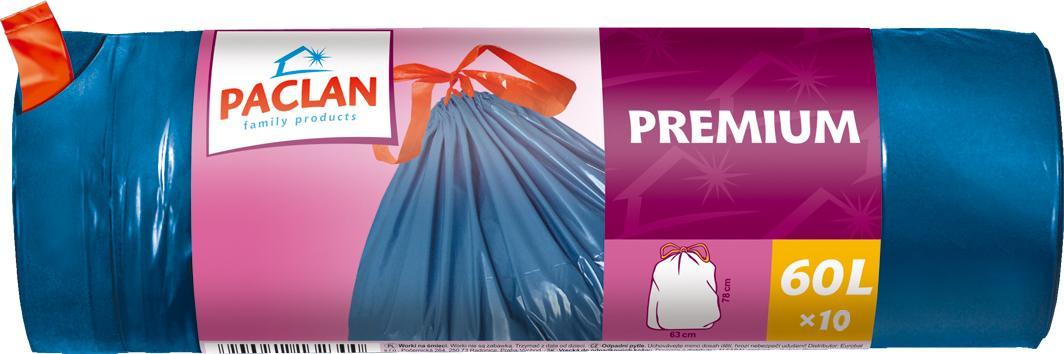 PACLAN šiukšlių maišai Premium 60L 10vnt
