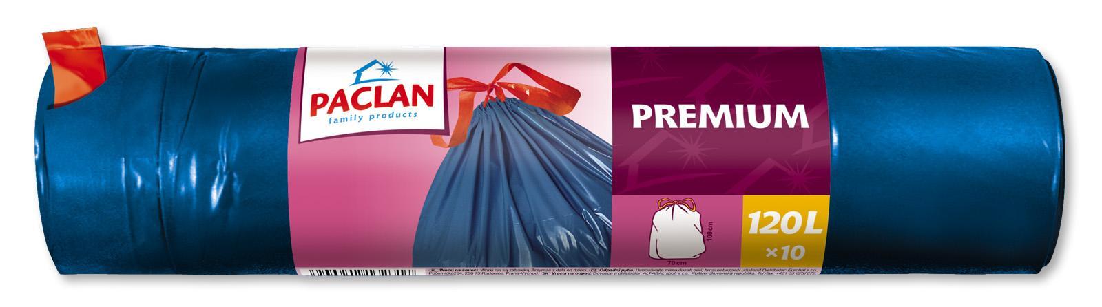 Paclan užrišami šiukšlių maišai Premium 120 L, 10vnt.