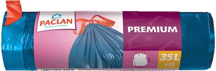 Paclan užrišami šiukšlių maišai Premium 35 L, 15vnt.