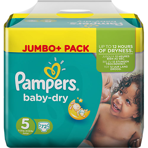 PAMPERS Baby-dry sauskelnės 5 dydis (11-25kg), Jumbo pack 72 vnt