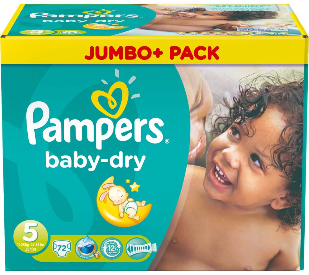 Sauskelnės PAMPERS Baby Dry sauskelnės, 5 dydis (11-25 kg), Jumbo Pack, 72 vnt.