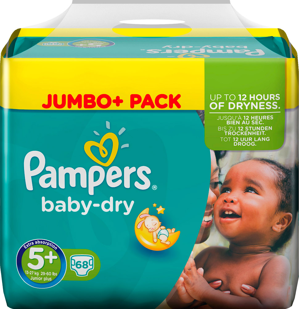 PAMPERS Baby-dry sauskelnės 5+ dydis (13-27kg), JUMBO pack, 68 vnt