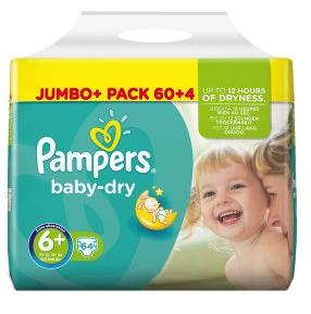 PAMPERS Baby-dry sauskelnės 6+ dydis (16+ kg), JUMBO pack, 64 vnt