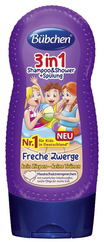 PATIKIMAS IR KOKYBIŠKAS šampūnas, dušo gelis ir balzamas Bubchen Cheeky Dwarfs, 230 ml