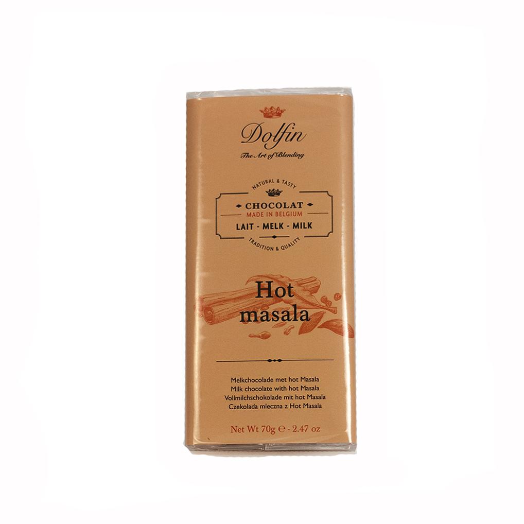 Pieniškas šokoladas su aštria masala DOLFIN, 38%, 70g