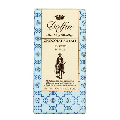 Pieniškas šokoladas su lazdynų riešutais DOLFIN, 38%, 30g
