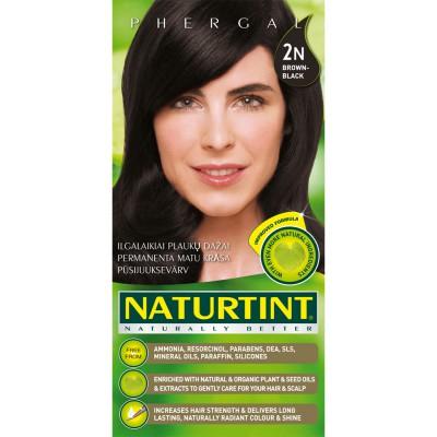 Plaukų dažai ilgalaikiai BE AMONIAKO 2N rudai juoda Naturtint Naturally Better, 165 ml