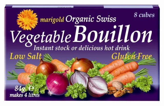 MARIGOLD ekologiškas šveicariškas daržovių sultinys kubeliais silpnai sūdytas (VIOLETINIS), 72g