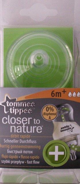 Tommee Tippee Anti-colic+ Dieglių nesukeliantis maitinimo žindukas greitos tėkmės nuo 6+ mėn. 2 vnt. (421224)