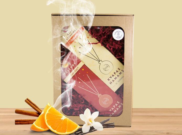 Rinkinys ODORO, namų kvapai su lazdelėmis: Čili apelsinas ir Kalėdos