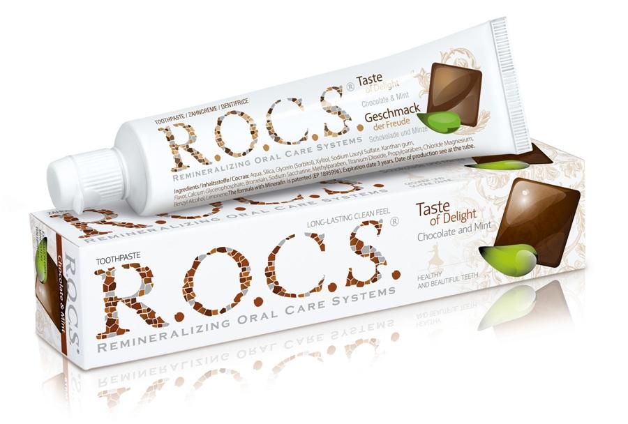 R.O.C.S. Chocolate&mint šokolado ir mėtų skonio dantų pasta suaugusiesiems, 74 g