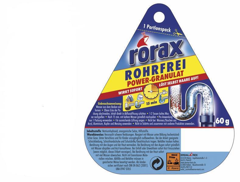 RORAX Power granulat granuliuotas nutekamųjų vamzdžių valiklis, 60g