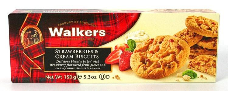Sausainiai SU BRAŠKĖMIS IR BALTUOJU ŠOKOLADU Walkers, 150g