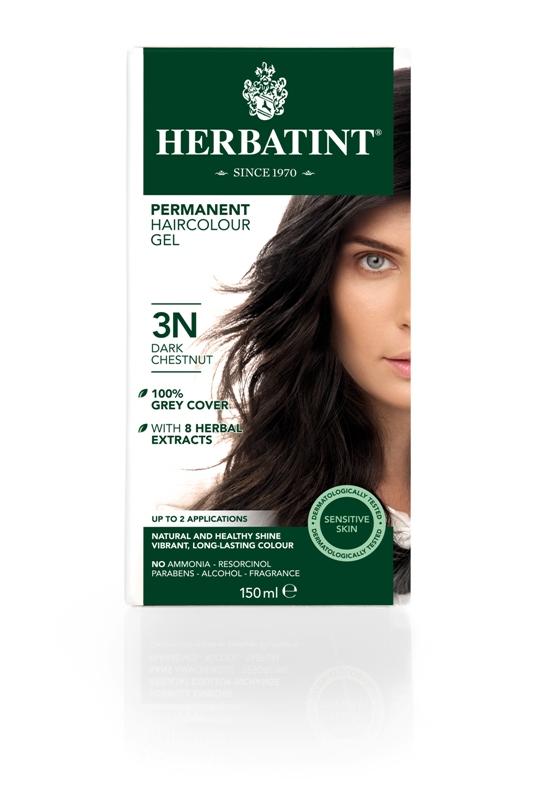 Plaukų dažai SU EKOLOGIŠKAIS EKSTRAKTAIS be amoniako Herbatint 3N tamsus kaštonas, 150 ml