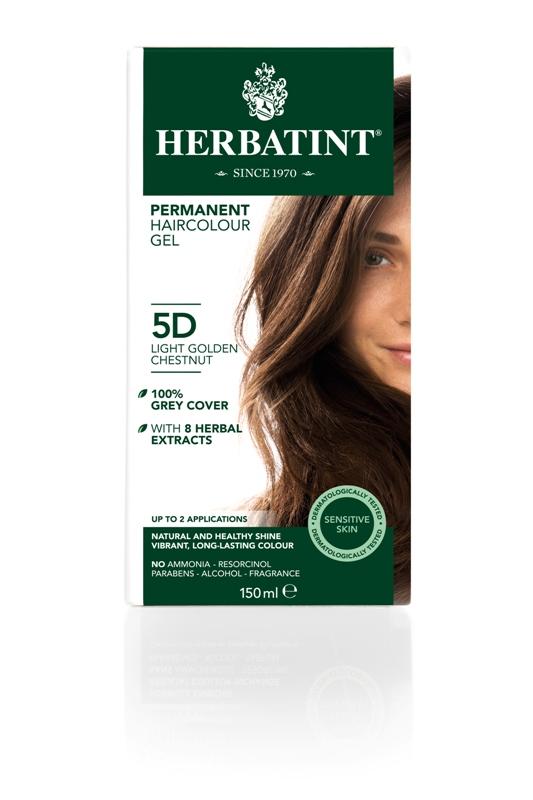Plaukų dažai SU EKOLOGIŠKAIS EKSTRAKTAIS be amoniako Herbatint 5D šviesus aukso kaštonas, 150 ml