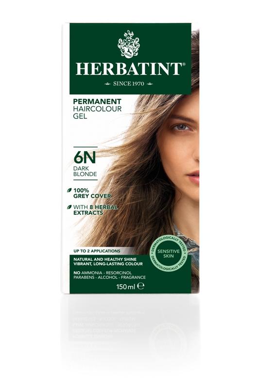 Plaukų dažai SU EKOLOGIŠKAIS EKSTRAKTAIS be amoniako Herbatint 6N tamsi blondinė, 150 ml