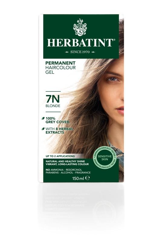 Plaukų dažai SU EKOLOGIŠKAIS EKSTRAKTAIS be amoniako Herbatint 7N blondinė, 150 ml