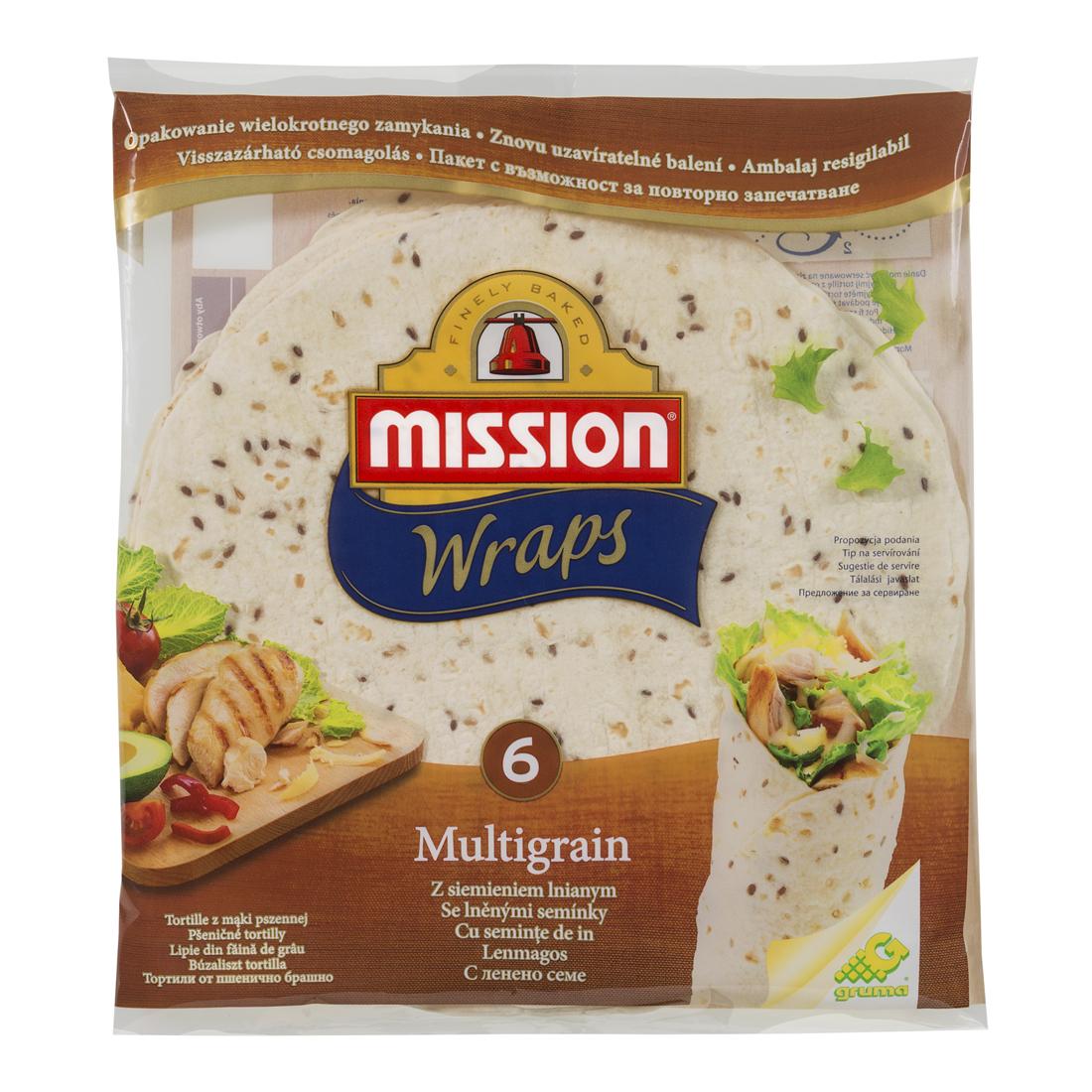 TAMSIŲ IR ŠVIESIŲ LINŲ SĖMENŲ tortilija, 25 cm, 6 vnt., Mission food, 370 g
