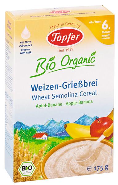 Ekologiška manų košė su obuoliais ir bananais TÖPFER kūdikiams nuo 6 mėn., 175 g
