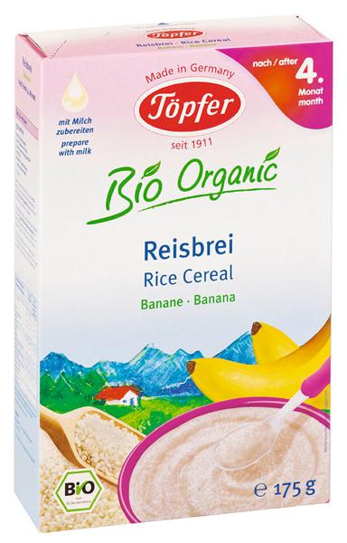 Ekologiška ryžių košė TÖPFER su bananais kūdikiams nuo 4 mėn., 175 g