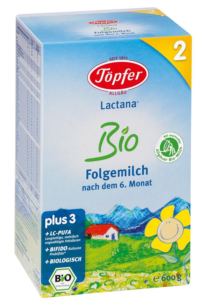 TÖPFER LACTANA Bio 2 ekologiškas probiotinis tolesnio maitinimo pieno mišinys, kūdikiams nuo 6 mėn., neto masė 600g